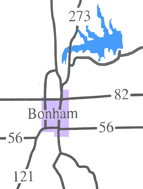 Map to Bonham Lake from Bonham, Texas