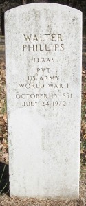 Walter Phillips WWI tombstone - Union Cemetery