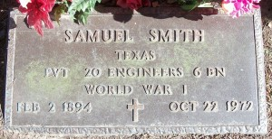 Samuel Smith tombstone WWI - Union Cemetery